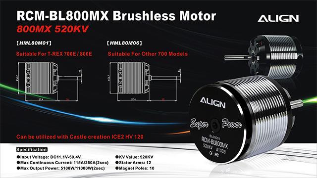Motor Align 800mx Brushless Motor 520kv