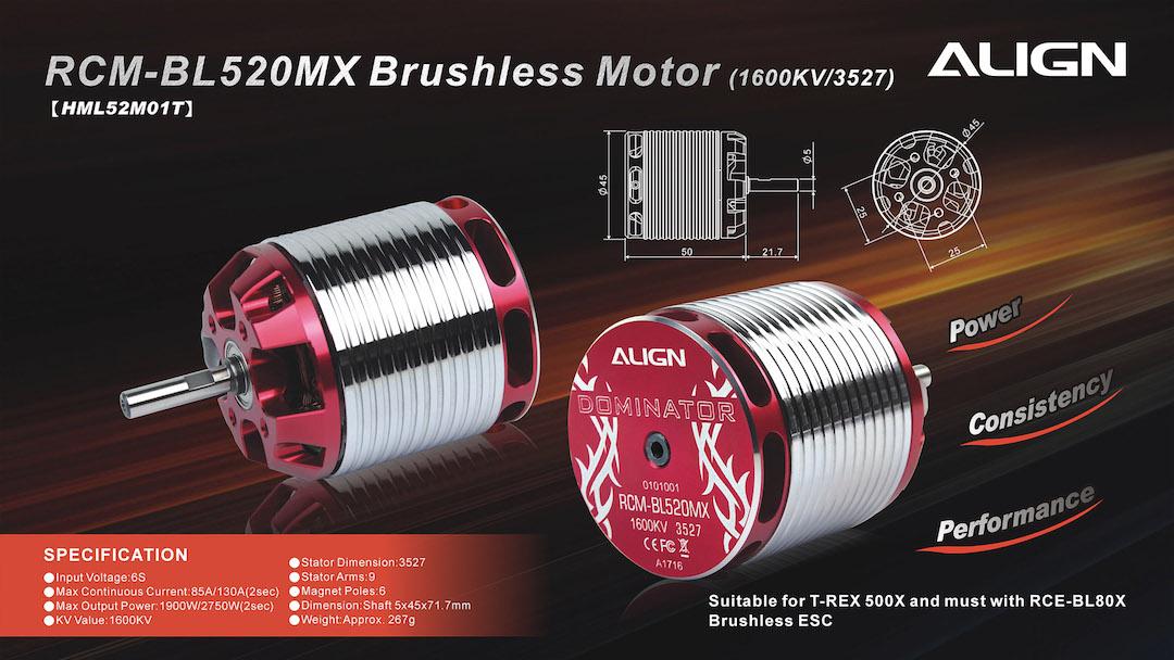 Motor Align 520mx Brushless Motor 1600kv